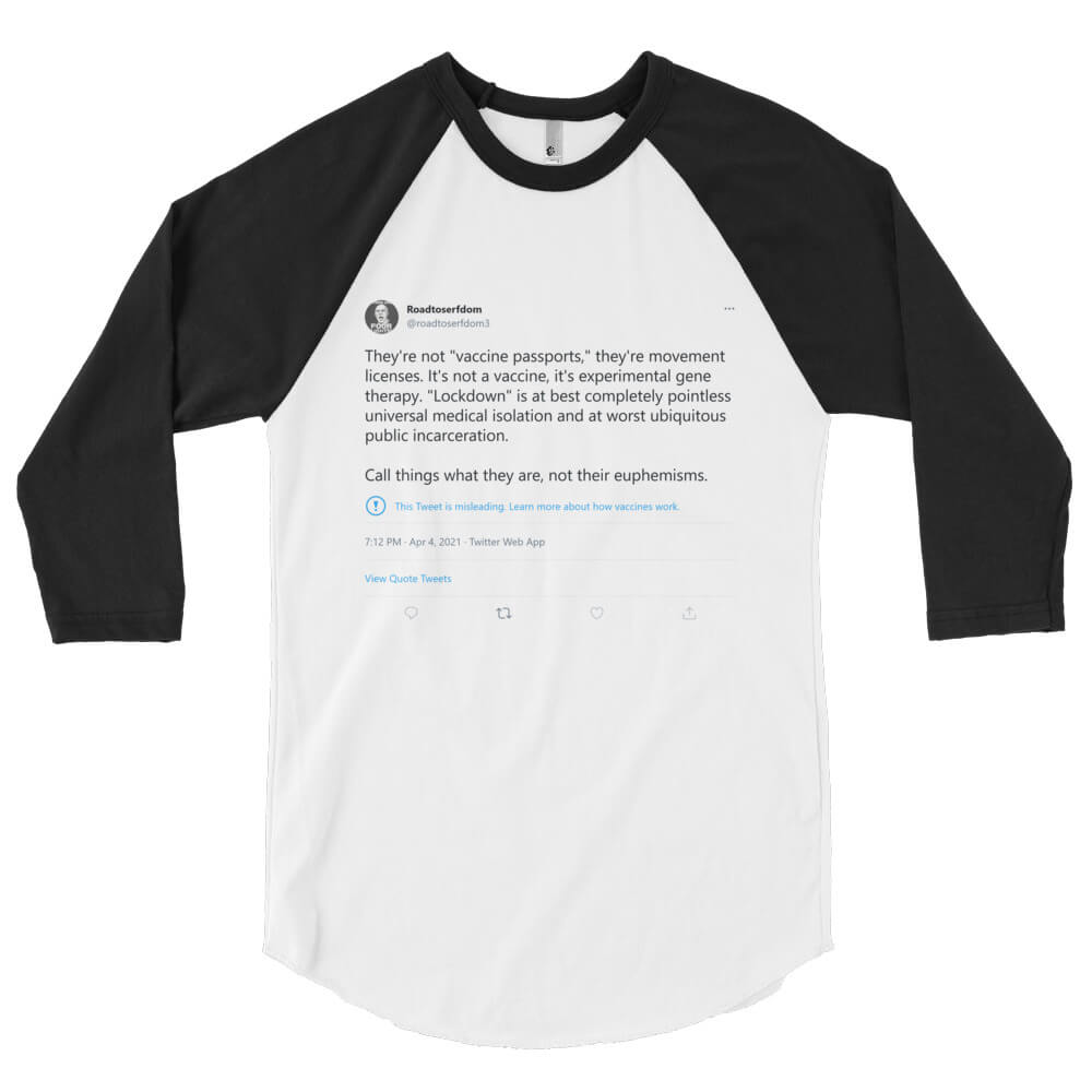 This Shirt Is Misleading – 3/4 sleeve raglan shirt with QR Code on back